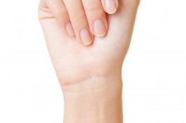 woman's hand on white background