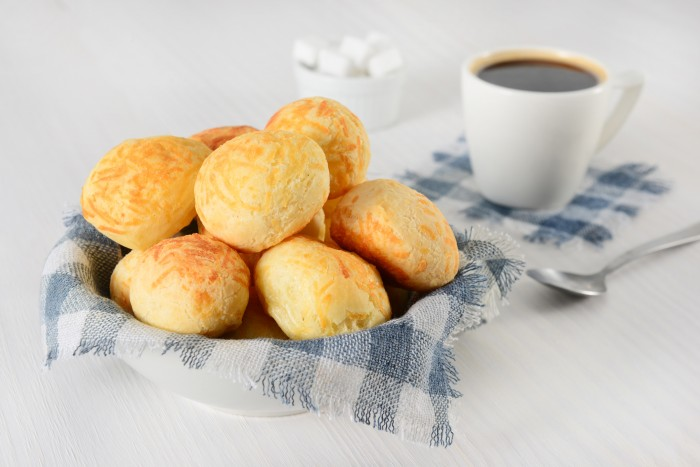 Typical Brazilian breakfast: Cheese breads and black coffee